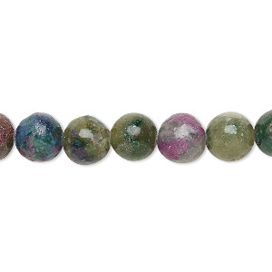 bead, ruby in kyanite (stabilized), 8mm round, b grade, mohs hardness 9 and 4. sold per 8-inch strand, approximately 25 beads.