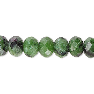 bead, ruby in zoisite (natural), 10x7mm faceted rondelle with 0.5-1.5mm hole, b grade, mohs hardness 6 to 7. sold per 16-inch strand.