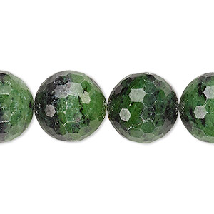 bead, ruby in zoisite (natural), 14mm faceted round, c grade, mohs hardness 6 to 7. sold per 15-inch strand.