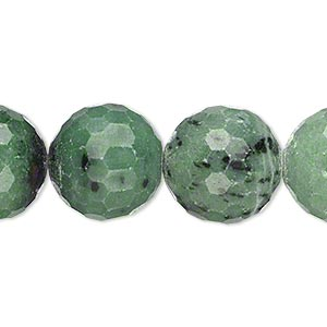 bead, ruby in zoisite (natural), 15-16mm faceted round, c grade, mohs hardness 6 to 7. sold per 15-inch strand.