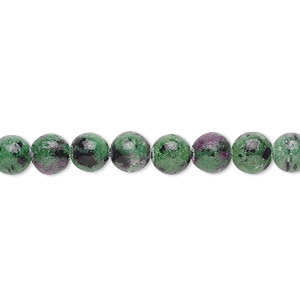 bead, ruby in zoisite (natural), 6mm round, b grade, mohs hardness 6 to 7. sold per 16-inch strand.
