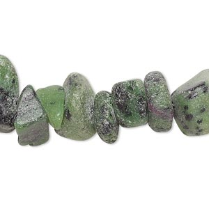bead, ruby in zoisite (natural), large chip, mohs hardness 6. sold per 8-inch strand.