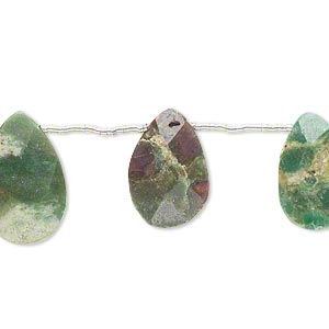 bead, ruby in zoisite (oiled), 13x9mm-19x12mm hand-cut top-drilled faceted flat teardrop, b- grade, mohs hardness 6 to 7. sold per pkg of 10 beads.