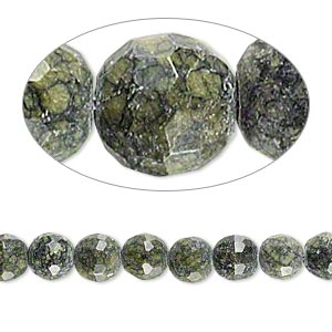 bead, russian serpentine (natural), 5-7mm faceted round, d grade, mohs hardness 2-1/2 to 6. sold per 7-inch strand.