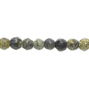 bead, russian serpentine (natural), 6-7mm hand-faceted round, c- grade, mohs hardness 2-1/2 to 6. sold per 8-inch strand.