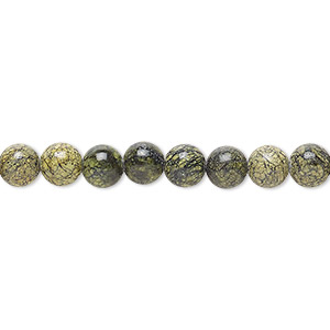 bead, russian serpentine (natural), 6mm round, b grade, mohs hardness 2-1/2 to 5. sold per 16-inch strand.