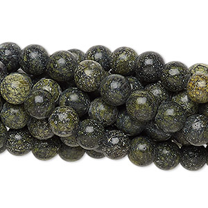 bead, russian serpentine (natural), 6mm round, c grade, mohs hardness 2-1/2 to 5. sold per pkg of (10) 16-inch strands.