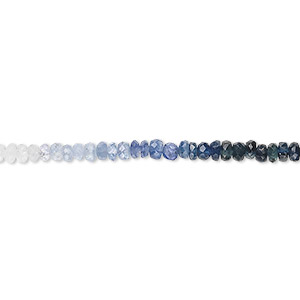 bead, sapphire (heated), shaded, 2x1mm-4x3mm graduated hand-cut faceted rondelle, b grade, mohs hardness 9. sold per 16-inch strand.