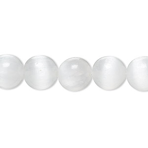 bead, selenite (natural), 10mm round, b grade, mohs hardness 2 to 2-1/2. sold per 8-inch strand, approximately 20 beads.
