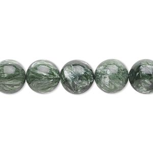 bead, seraphinite (natural), 10mm round, b grade, mohs hardness 2 to 2-1/2. sold per 16-inch strand.