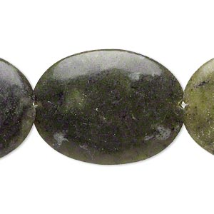 bead, serpentine (natural), 40x30mm-40x31mm puffed oval, d grade, mohs hardness 2-1/2 to 6. sold per 15-inch strand.