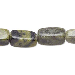 bead, serpentine (natural), small to medium tumbled nugget, mohs hardness 2-1/2 to 6. sold per 15-inch strand.