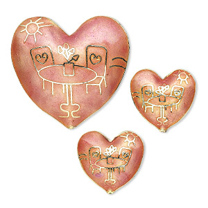 bead set, cloisonne, pink, (1) 43x40mm and (2) 24x23mm hearts. sold per 3-piece set.