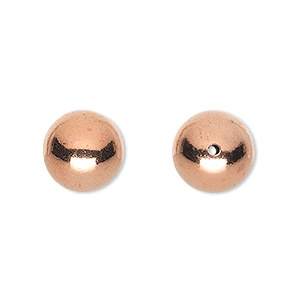 bead, shiny copper, 12mm hollow smooth round. sold per pkg of 8.