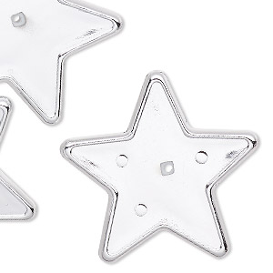bead, silver-coated vintage german acrylic, 34x32mm flat star with 30x30mm star setting. sold per pkg of 6.