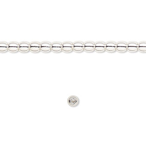 bead, silver-finished brass, 3mm round. sold per 16-inch strand.