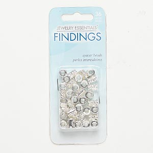 bead, silver-finished pewter (zinc-based alloy), 8x6mm round tube with flower design and 2.7-3mm hole. sold per pkg of 36.
