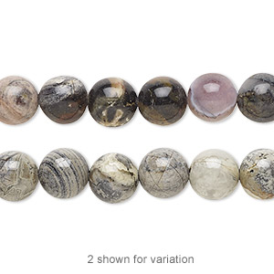 bead, silver leaf jasper (natural), 8mm round, b grade, mohs hardness 6-1/2 to 7. sold per 16-inch strand.