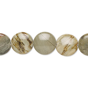 bead, silver mist jasper (natural), 12mm puffed flat round, b grade, mohs hardness 6-1/2 to 7. sold per 8-inch strand, approximately 15 beads.