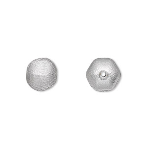 bead, silver-plated brass, 11x9mm brushed puffed hexagon. sold per pkg of 4.