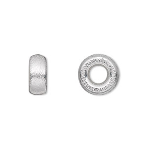 bead, silver-plated brass, 12x6mm brushed rondelle, 4mm hole. sold per pkg of 4.