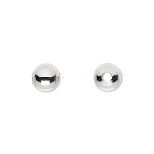 bead, silver-plated brass, 8mm round with 2mm hole. sold per pkg of 100.