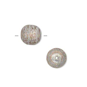 bead, silver-plated copper, 10mm two-tone brushed round. sold per pkg of 12.