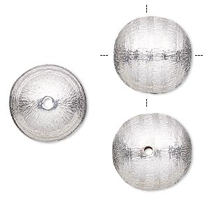 bead, silver-plated copper, 16mm cross-drilled brushed round with lines. sold per pkg of 2.