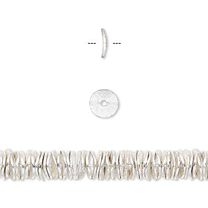 bead, silver-plated copper, 6x1mm brushed wavy rondelle. sold per pkg of 20.