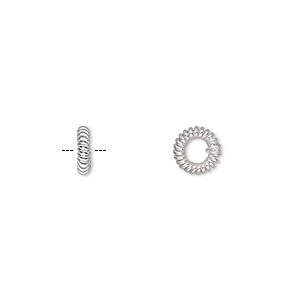bead, silver-plated copper, 7x2mm twisted rondelle with 3mm hole. sold per pkg of 50.