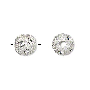 bead, silver-plated pewter (zinc-based alloy) and czech glass rhinestone, clear, 10mm round with 4mm hole. sold per pkg of 2.