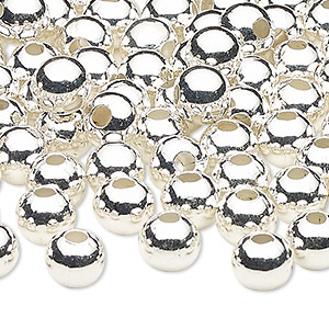 bead, silver-plated steel, 8mm round with 2.5mm hole. sold per pkg of 100.