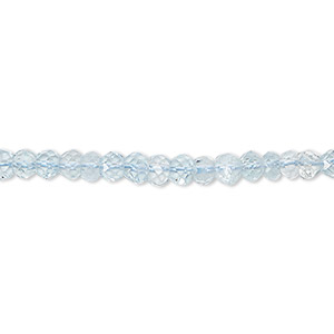 bead, sky blue topaz (irradiated), 4x3mm hand-cut faceted rondelle, b grade, mohs hardness 8. sold per 8-inch strand, approximately 55-65 beads.