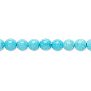 bead, sleeping beauty turquoise (natural), 6mm round, a- grade, mohs hardness 5 to 6. sold per 16-inch strand.