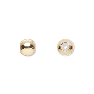 bead, smartbead bps™, silicone and 14kt gold-filled, 8mm seamless round with 2.5-3mm hole. sold per pkg of 2.