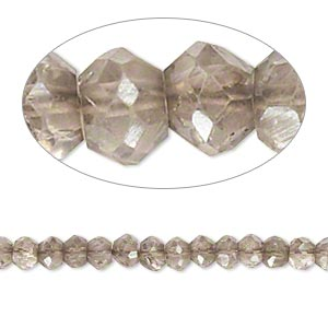 bead, smoky quartz (coated / heated / irradiated), luster, 3x2mm-4x3mm hand-cut faceted rondelle, b grade, mohs hardness 7. sold per 14-inch strand.