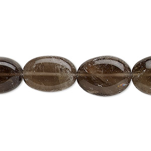 bead, smoky quartz (heated / irradiated), 12x9mm-18x12mm hand-cut flat oval, d grade, mohs hardness 7. sold per 13-inch strand.