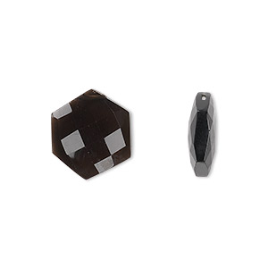bead, smoky quartz (heated / irradiated), 13x13mm top-drilled faceted flat hexagon, b grade, mohs hardness 7. sold per pkg of 2.