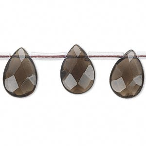 bead, smoky quartz (heated / irradiated), 14x10mm-15x11mm hand-cut top-drilled faceted flat teardrop, b grade, mohs hardness 7. sold per 16-inch strand, approximately 25 beads.