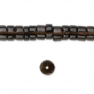 bead, smoky quartz (heated / irradiated), 6x3mm hand-cut heishi, b grade, mohs hardness 7. sold per 16-inch strand.