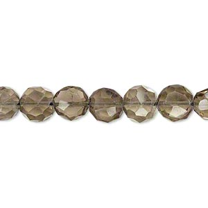 bead, smoky quartz (heated / irradiated), 7-9mm hand-cut faceted flat round with 0.4-1.4mm hole, b grade, mohs hardness 7. sold per 16-inch strand.