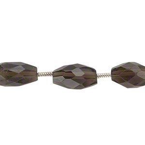 bead, smoky quartz (heated / irradiated), 9x5mm-11x6mm hand-cut faceted oval, c grade, mohs hardness 7. sold per pkg of 6 beads.