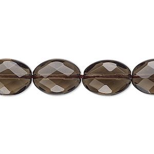 bead, smoky quartz (heated / irradiated), light to medium, 14x10mm faceted puffed oval, b grade, mohs hardness 7. sold per 16-inch strand.
