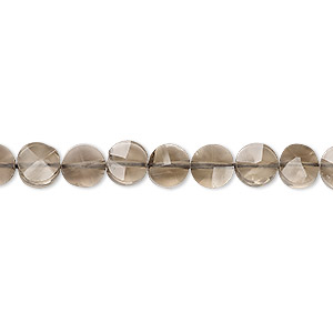 bead, smoky quartz (heated / irradiated), light to medium, 5-7mm hand-cut faceted flat round, b grade, mohs hardness 7. sold per 14-inch strand.