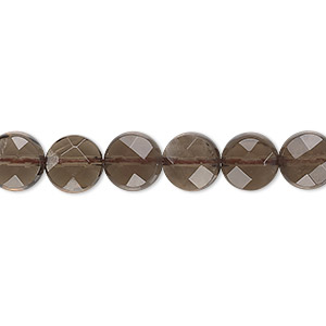 bead, smoky quartz (heated / irradiated), light to medium, 8mm faceted flat round, b grade, mohs hardness 7. sold per 16-inch strand.