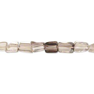 bead, smoky quartz (heated / irradiated), shaded, 5x3mm-10x5mm hand-cut flat rectangle, c- grade, mohs hardness 7. sold per 14-inch strand.