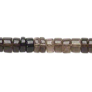bead, smoky quartz (heated / irradiated), shaded, 7x4mm-10x7mm hand-cut heishi, b- grade, mohs hardness 7. sold per 14-inch strand.