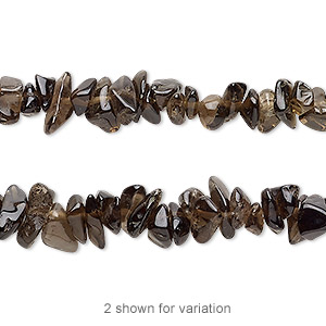 bead, smoky quartz (heated / irradiated), small to medium chip, mohs hardness 7. sold per 36-inch strand.
