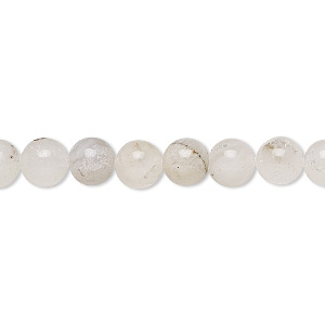 bead, snow quartz (natural), 6-7mm round, c grade, mohs hardness 7. sold per 15-inch strand.