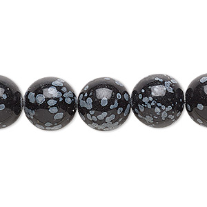 bead, snowflake obsidian (natural), 12mm round, b grade, mohs hardness 5 to 5-1/2. sold per 16-inch strand.
